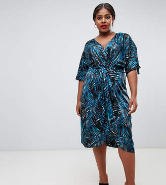 John Zack Plus plunge knot front midaxi in abstract print