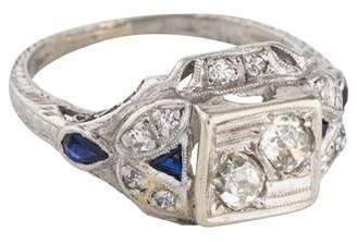 Ring Art Deco Platinum Diamond & Synthetic Sapphire