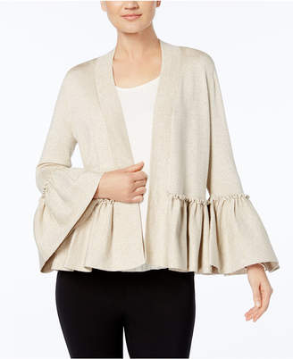 Alfani Petite Metallic Ruffled Cardigan, Created for Macy's