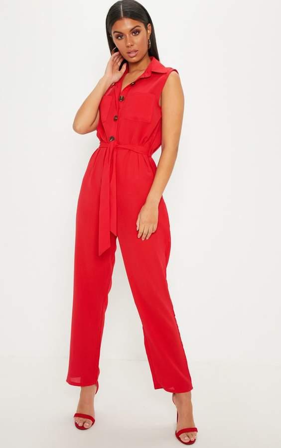 Red Tortoiseshell Button Sleeveless Jumpsuit