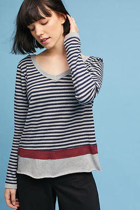 Wilt Long-Sleeve Striped V-Neck Tee $168 thestylecure.com
