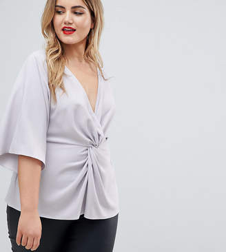 Asos DESIGN Curve exclusive twist front kimono sleeve top