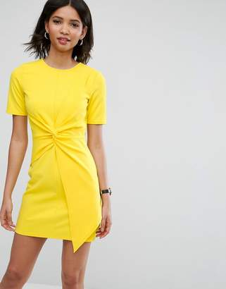Asos Design Mini Skater Dress With Twist Front