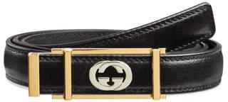 f97d8b0a91fb59 Gucci Men's Skinny Leather Belt w/ Framed Buckle