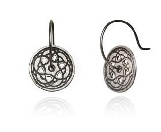 Maro - Oxidised Silver Byzantine Mini Hoop Earrings