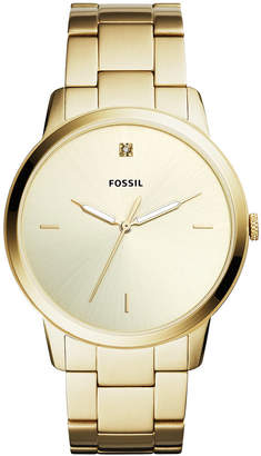 Fossil Men Minimalist Carbon Series Diamond Gold-Tone Stainless Steel Bracelet Watch 44mm