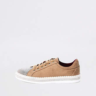 River Island Womens Beige glitter lace-up trainers