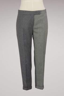 Thom Browne Two-Tone Woolen Cropped Pants