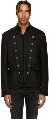 Pierre Balmain Black Wool Military Jacket $2,100 thestylecure.com