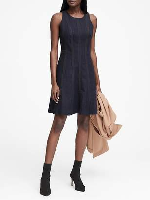 Banana Republic Petite Denim Paneled Fit-and-Flare Dress