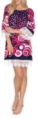 White Mark Polka Dot Printed Off the Shoulder Mini Dress