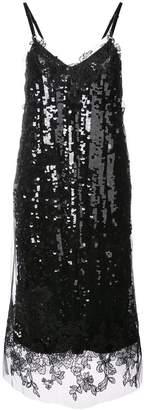 Vera Wang lace trim sequin slip dress