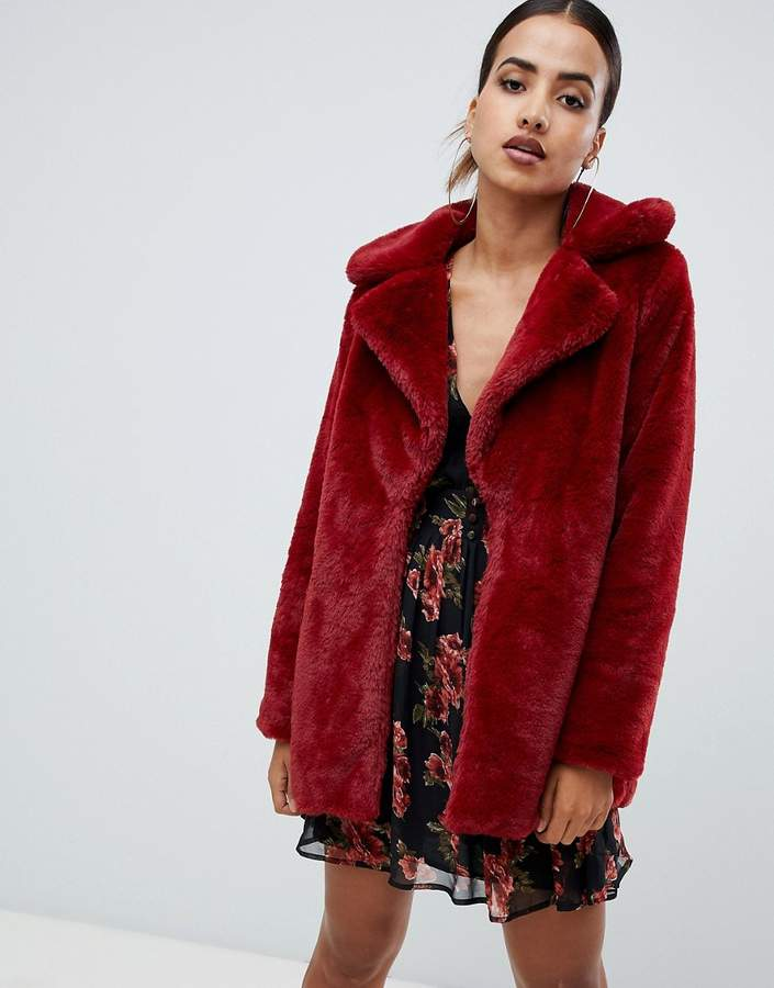 faux fur coat in red
