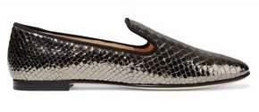 Giuseppe Zanotti Snake-Effect Patent-Leather Slippers