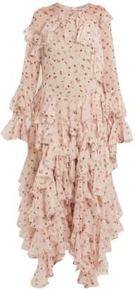 Preen by Thornton Bregazzi Genevieve asymmetric-ruffle silk-chiffon dress