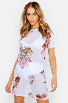 boohoo Cupid Print Mesh T Shirt Dress