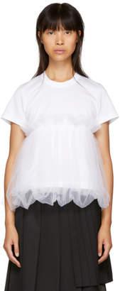 Noir Kei Ninomiya White Tulle Peplum T-Shirt