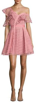 Self-Portrait Lace Frill Asymmetric Cold-Shoulder Fit & Flare Mini Dress, Pink $510 thestylecure.com