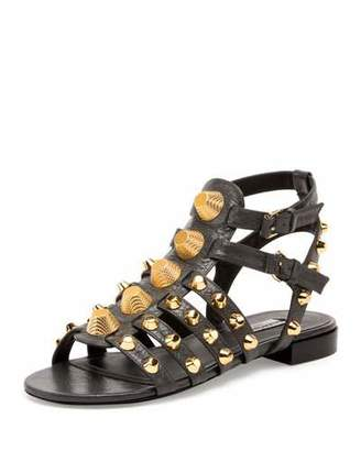 Balenciaga Studded Caged Flat Sandal, Gris Fossile $795 thestylecure.com