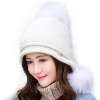 5418a6e980c USANDY USADNY Women s Ear Flap Hats With Pom Pom Thick Knit Three Faux  Fuzzy Fur Poms