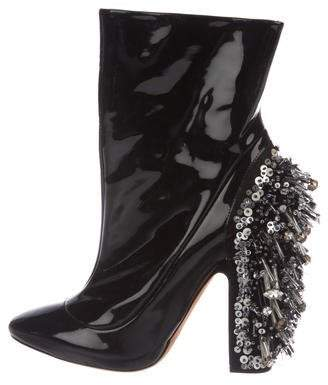 Rochas Patent Leather Embellished Boots