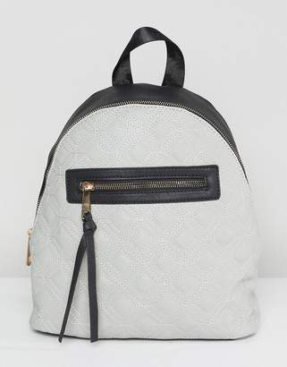 Yoki Fashion Quilted Backpack with Contrast Black Zip