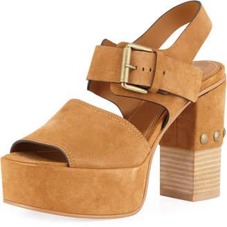 See by Chloe Stud-Heel Suede Platform Sandal
