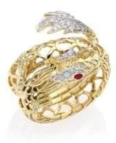 John Hardy Legends Naga Diamond, Ruby & 18K Yellow Gold Coil Ring
