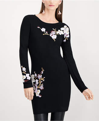 INC International Concepts I.n.c. Floral-Embroidered Tunic Sweater, Created for Macy's
