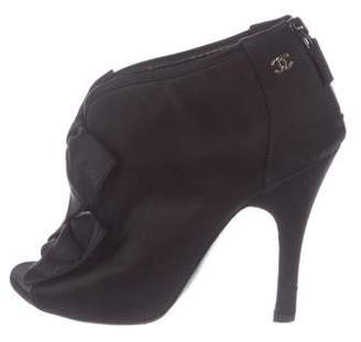 Chanel CC Satin Peep-Toe Boots