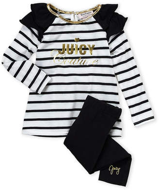 Juicy Couture Toddler Girls) Two-Piece Stripe Tee & Legging Set