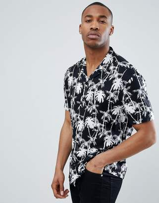 Asos DESIGN oversized hawaiian palm print shirt with revere collar