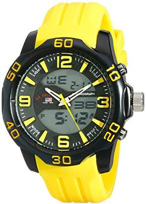 U.S. Polo Assn. Sport Men's US9512 Analog-Digital Display Analog Quartz Yellow Watch