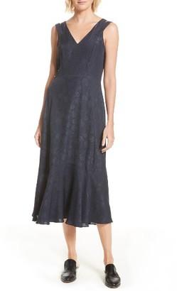 Women's Derek Lam 10 Crosby Barbell Detail Silk Jacquard Midi Dress $595 thestylecure.com