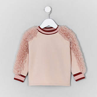 River Island Mini girls Pink faux fur sleeve sweater