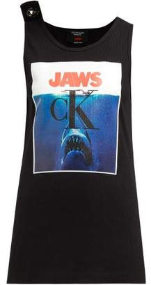 Calvin Klein Jaws Print Ribbed Stretch Cotton Tank Top - Womens - Black