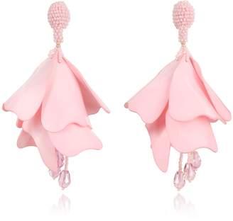 Oscar de la Renta Large Impatiens Flower Drop Clip-On Earrings