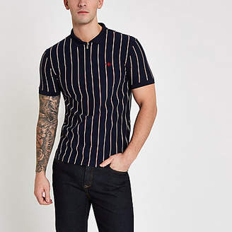 River Island Mens Navy stripe zip slim fit polo shirt