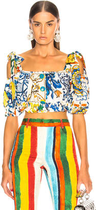 Dolce & Gabbana Maiolica Print Cropped Blouse