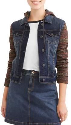 Wallflower Juniors' Hooded Denim Jacket Sweatshirt 2Fer