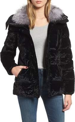 Andrew Marc Genuine Fox Fur Trim Velvet Down Coat