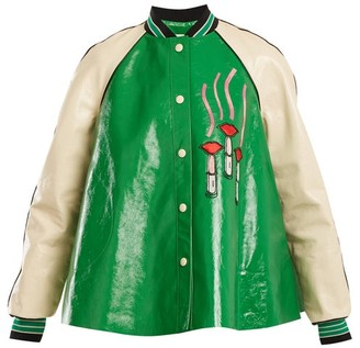 Valentino - Lipstick Appliqué Contrast Sleeve Leather Jacket - Womens - Green Multi