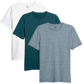 H&M 3-pack T-shirts Slim fit - Turquoise
