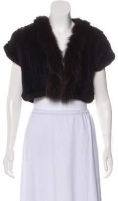 Neiman Marcus Fox-Trimmed Fur Bolero