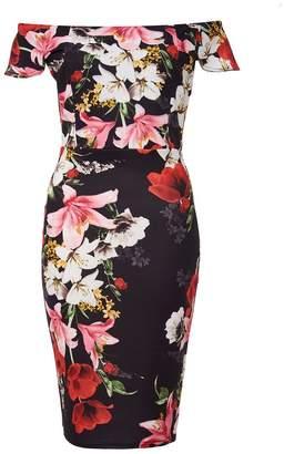 Quiz Black And Red Floral Bardot Midi Dress