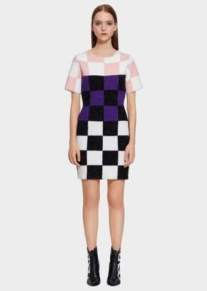 Versace Macro Checkerboard Furry Nylon Mini-Dress