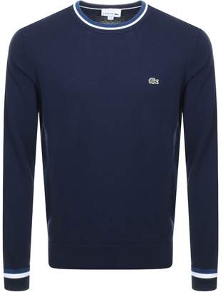 Lacoste Tipped Crew Neck Knit Jumper Navy
