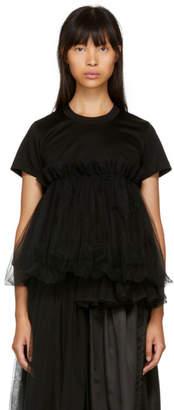 Noir Kei Ninomiya Black Tulle Peplum T-Shirt