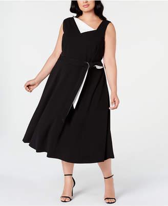 Calvin Klein Plus Size Asymmetrical-Neck Midi Dress