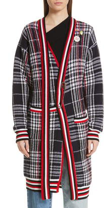 Monse Tie Neck Longline Plaid Wool Cardigan